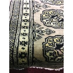 "BOKHARA WOOL 5'9"" X 2' BEIGE, BLACK, GOLD HAND WOVEN PERSIAN AREA RUG"