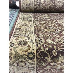 "FLORAL WOOL 12' X 2'7"" BROWN, BEIGE, BLACK HAND WOVEN PERSIAN AREA RUG"