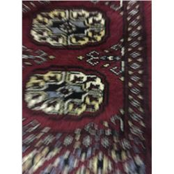 BOKHARA WOOL 3' X 1' BURGUNDY, WHITE, BLACK HAND WOVEN PERSIAN AREA RUG