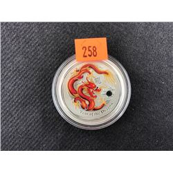 YEAR OF THE DRAGON 1 OUNCE .999 SILVER 2012 AUSTRALIA 50 CENTS COLLECTOR COIN