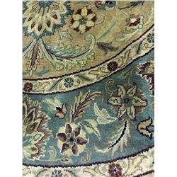FLORAL ANTIQUE FINISH WOOL 6'X6' BEIGE, CREAM, BLUE HAND WOVEN PERSIAN AREA RUG