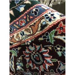 TABRIZ SILK 6'X6' GREEN, RED, BLUE HAND WOVEN PERSIAN AREA RUG