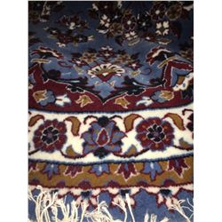"KASHAN DESIGN WOOL 6'7""X6'X7"" BLUE, WHITE, RED HAND WOVEN PERSIAN AREA RUG"