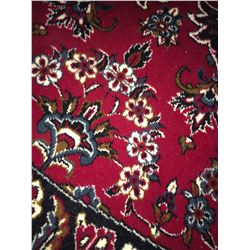 "KASHAN DESIGN WOOL 6'7""X6'X7"" RED, BLUE, WHITE, HAND WOVEN PERSIAN AREA RUG"