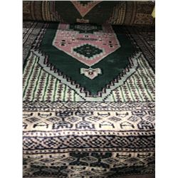 "BOKHARA WOOL 6'2""X2' GREEN, PINK, WHITE, HAND WOVEN PERSIAN AREA RUG"