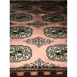 "BOKHARA WOOL 6'X2'2"" PINK, BEIGE, WHITE, HAND WOVEN PERSIAN AREA RUG"