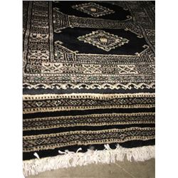 "BOKHARA WOOL 5'9""X2' BLACK, BEIGE, GREEN HAND WOVEN PERSIAN AREA RUG"