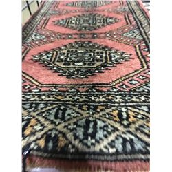 BOKHARA WOOL 2'X1' PINK, GREY, BLUE HAND WOVEN PERSIAN AREA RUG