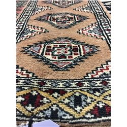 BOKHARA WOOL 2'X1' BROWN, WHITE, BLUE HAND WOVEN PERSIAN AREA RUG