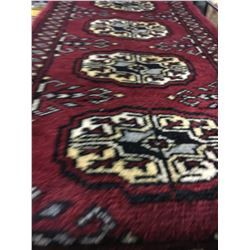 BOKHARA WOOL 2'X1' RED, BEIGE, CREAM HAND WOVEN PERSIAN AREA RUG