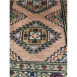 BOKHARA WOOL 3'X1' BROWN, GREY, RED HAND WOVEN PERSIAN AREA RUG