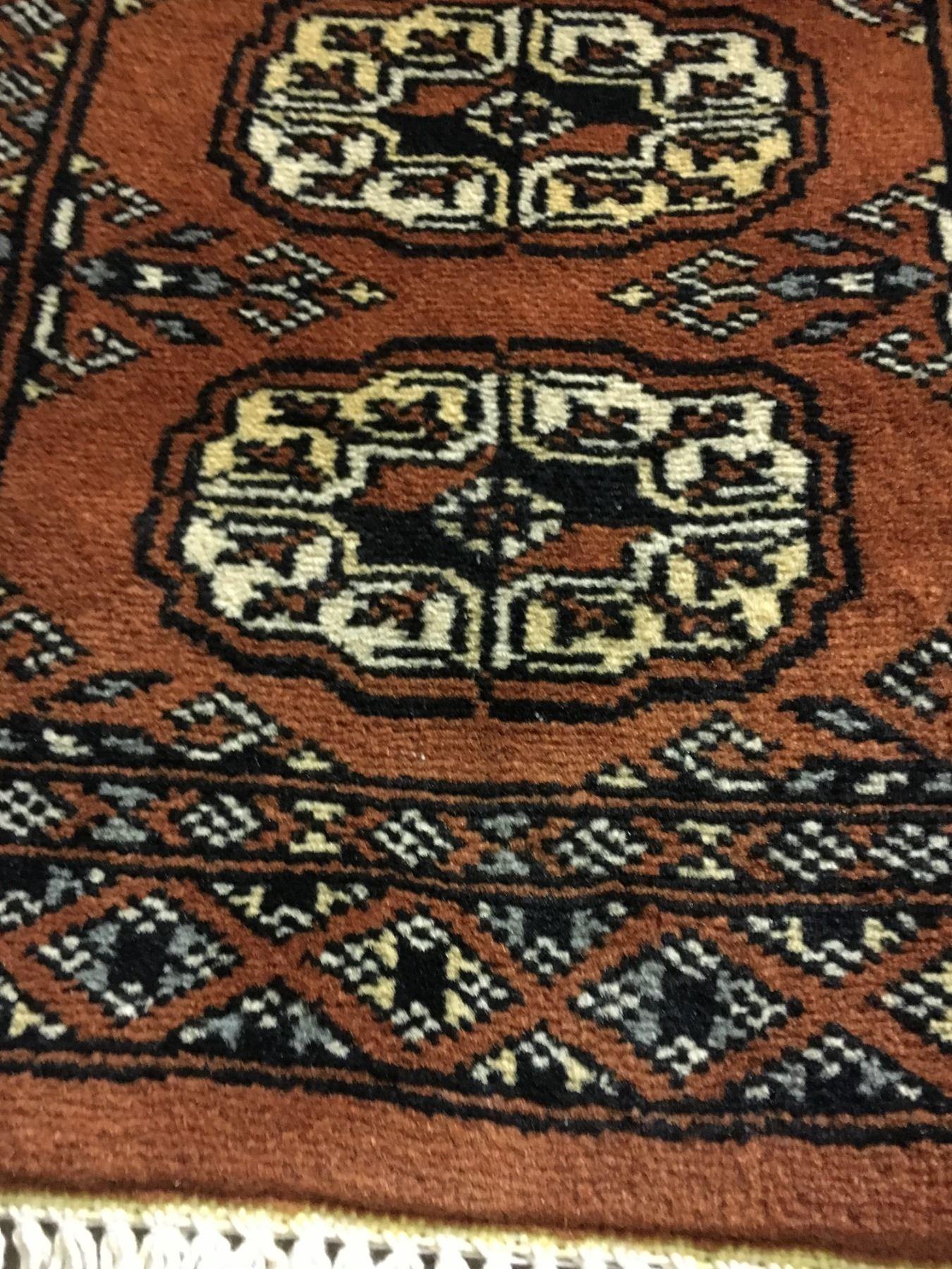 Bokhara Wool 3 X1 Orange Cream Black Hand
