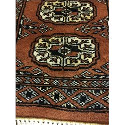 BOKHARA WOOL 3'X1' ORANGE, CREAM, BLACK HAND WOVEN PERSIAN AREA RUG