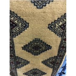 BOKHARA WOOL 4'X1' BEIGE, RED, BLACK HAND WOVEN PERSIAN AREA RUG