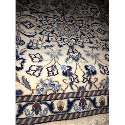 NAIN WOOL & SILK 6' X 2' CREAM, WHITE, BLUE PERSIAN AREA RUG