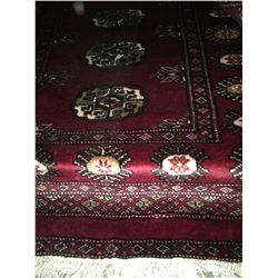 "BOKHARA WOOL 7'9"" X 2'6"" RED, CREAM, BLACK PERSIAN AREA RUG"