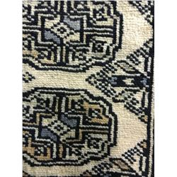 BOKHARA WOOL 3'X1' CREAM, BEIGE, GREY HAND WOVEN PERSIAN AREA RUG