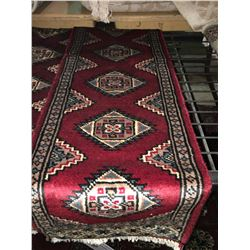 BOKHARA WOOL 3' X 1'  RED , CREAM, BLACK PERSIAN AREA RUG