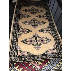 BOKHARA WOOL 2' X 1' BEIGE, RED, BLUE PERSIAN AREA RUG