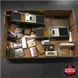 Tray Lot: Retro Walkie Talkies, Cig Case & Lighter Collection