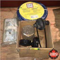 Box Lot: Water Hose, Outboard Muffs, RV Light & Yard Light