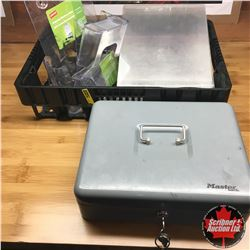 Lockable Cash Box & Tray Lot w/Pamphlet Holders & Menu Table Displays
