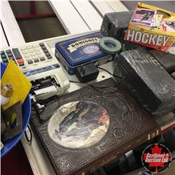 Tray Lot: Hockey Cards, Dominos, GunFighters Book, Adding Machine, etc