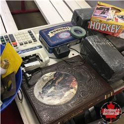 Tray Lot: Hockey Cards, Dominos, GunFighters Book, Adding Machine, etc
