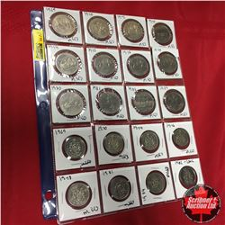 Canada Coins - Sheet of 20: One Dollar (1969; 1970; 1972; 1973; 1974; 1975; 1976; 1979; 1980; 1981;