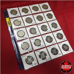 Canada Coins - Sheet of 20: Fifty Cent (1968; 1969; 1970; 1971; 1973; 1974; 1975; 1976; 1978; 1979;