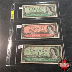Canada Bills - Sheet of 3: $1 1954 ; $2 1954 ; $1 1967 Centennial