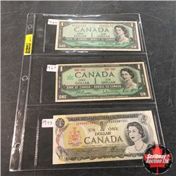 Canada Bills - Sheet of 3: $1 1954 ; $1 1967 Centennial; $1 1973