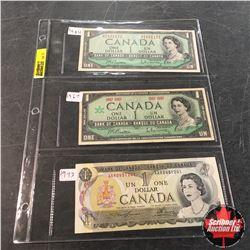 Canada Bills - Sheet of 3: $1 1954 ; $1 1967 Centennial; $1 1973