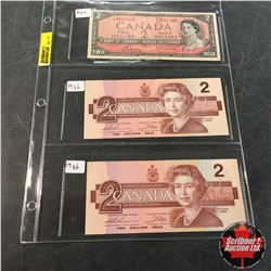 Canada Bills - Sheet of 3: $2 1954 ; $2 1986 ; $2 1986