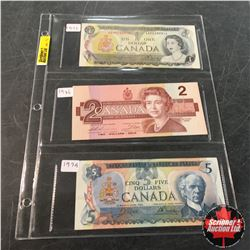 Canada Bills - Sheet of 3: $1 1973 ; $2 1986 ; $5 1979