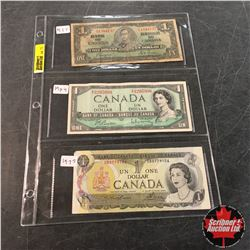 Canada Bills - Sheet of 3: $1 1937; $1 1954 ; $1 1973