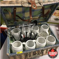 Picnic Basket with Mugs & Wine Glasses etc