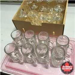 Wine Glasses (14) + Clear Mugs (8) w/Pink Tray