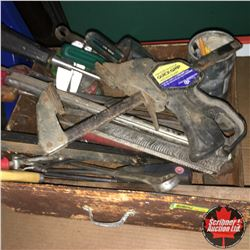 Drawer Lot w/Variety of Handtools (Bar Clamp. Meatsaw, Screw Drivers, etc)