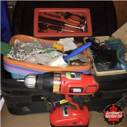 Suitcase Lot w/Black & Decker 18V Cordless Drill, Gardening Gloves, Mini Tool Kit, Baskets, Screwdri