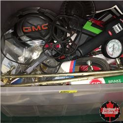 Plastic Tote Lot w/Variety of GM Parts, Timing Lights, Compression Tester, etc