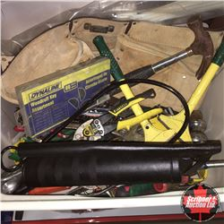 Tote Lot: Variety Hand Tools (Incl: Crescent Wrenches, Tin Snips, Hammer, Tool Belt, etc)