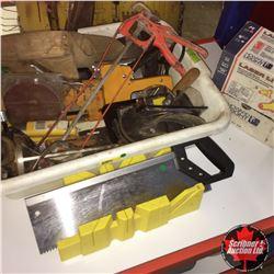 Tote Lot: Carpenter Tools (Tool Belt, Mitre Saw, Staplers, Ear Plugs, etc)