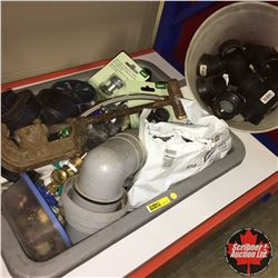 Tote Lot: Plumbing Supplies & Plastic Pail w/Fittings
