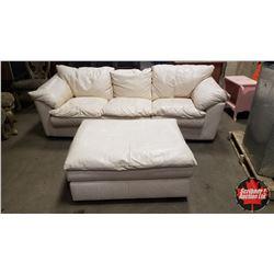 Cream Leather Sofa & Ottoman