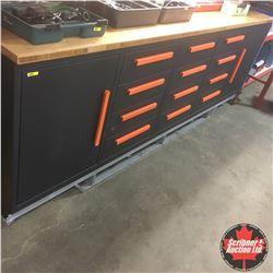CHOICE OF 2:  10' Heavy Duty Metal Work Bench - Wood Top (12 Drawer 2 Door)