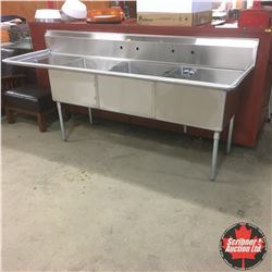 "Stainless Steel Industrial Sink 99"" W x 30""D x 45""H (3 Basin)"