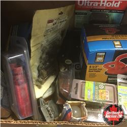 Combo: Tool Box w/Orbit Sander, 12v Trouble Light, Torch Ends + Box Lot w/Dent Puller, Dead Bolts, T
