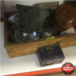 Wooden Box w/Headlights, Tractor Lights, Halogen Light & Beacon