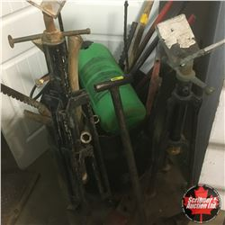 Shop Built Heavy Duty Rolling Cart w/Mega Shop Contents! Long Handle Tools, Fence Stretchers, Pipe S
